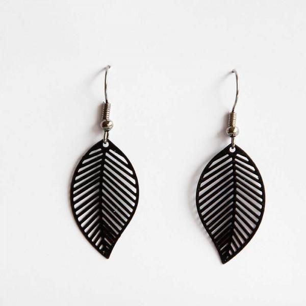Mittlere Ornament-Ohrringe in schwarz
