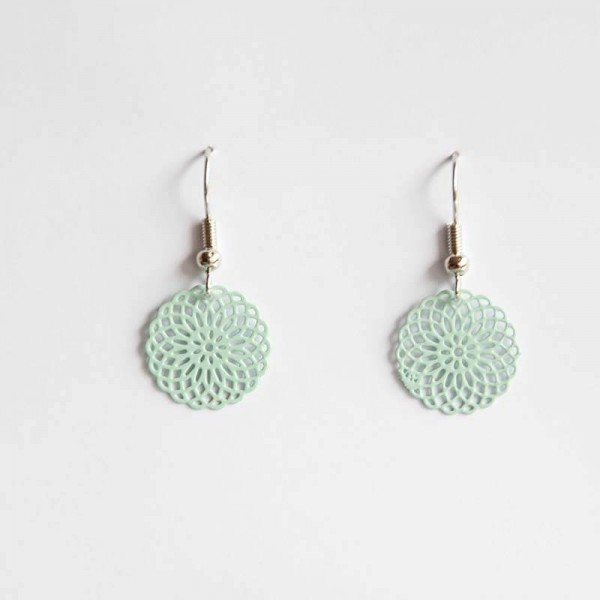 Kleine Ornament-Ohrringe in mint