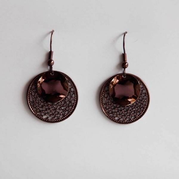 Mittlere Ornament-Ohrringe in braun