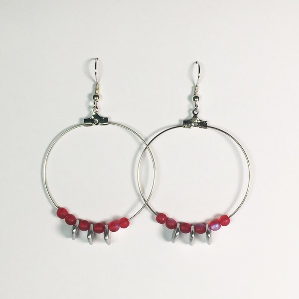 Creolen in Rot/Silber