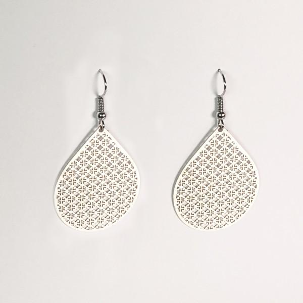 Große Ornament-Ohrringe in Silber
