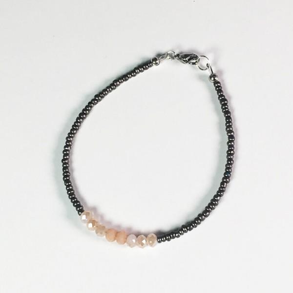 Elegantes Armband in Pfirsich/Grau