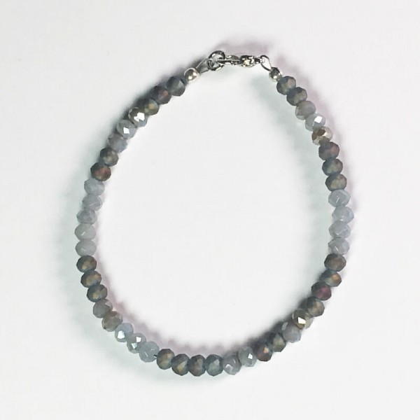Armband Glasperlen Grau