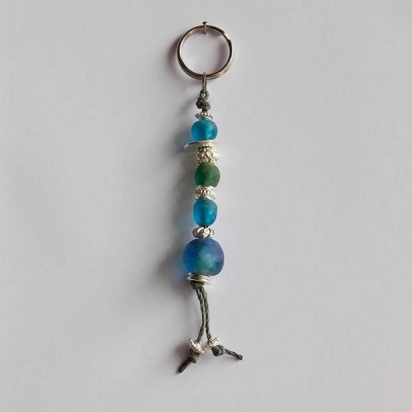 Schlüsselanhänger Perlen in Blau