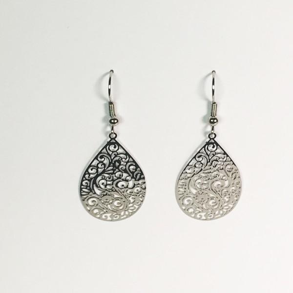 Mittlere Ornament-Ohrringe in silber