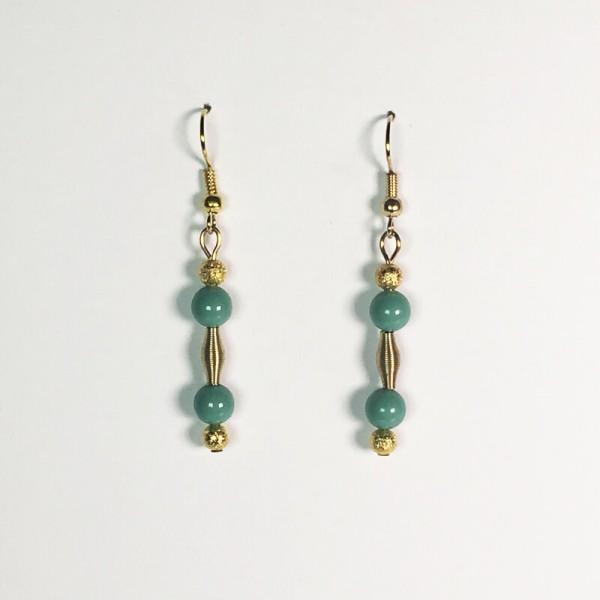 Perlen Ohrringe in Türkis/Gold