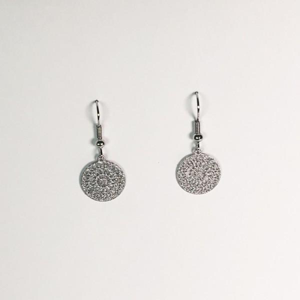 Kleine Ornament-Ohrringe in Silber matt